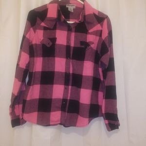 Wrangler pink and black flannel